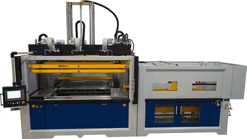 Вакуумформовочна машина GEISS T10, яка найбільше користується попитом та застосовується для високоефективного виробництва крупногабаритних полімерних та композитних виробів в авто-, вагоно- та літакобудуванні
