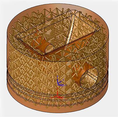 Конструкция поршневой головки с решеткой, созданная с помощью программного обеспечения 3D Systems 3DXpert.