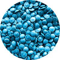 Синий, бесцветный и черный регранулят HDPE